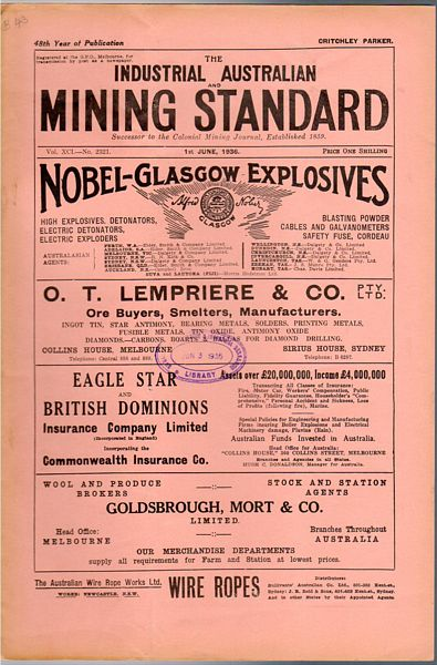 PARKER, CRITCHLEY; EDITOR. - Industrial Australian Mining Standard. 1st June, 1936. Vol. XCI-No. 2321. 48th Year of Publication.